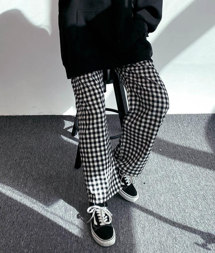 Autumn check banding trousers