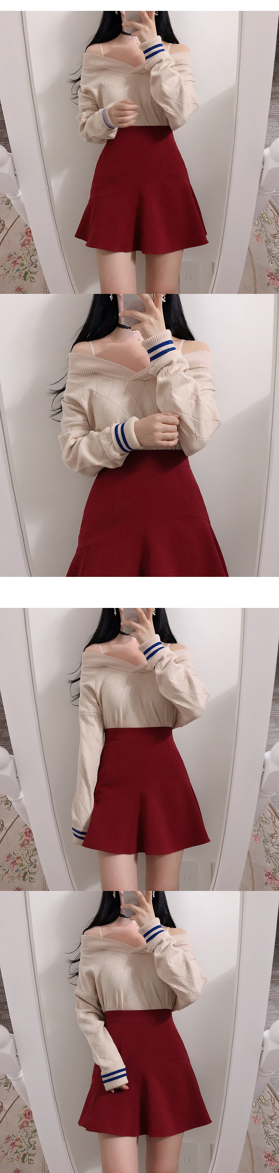Maison Color Off Shoulder Knit