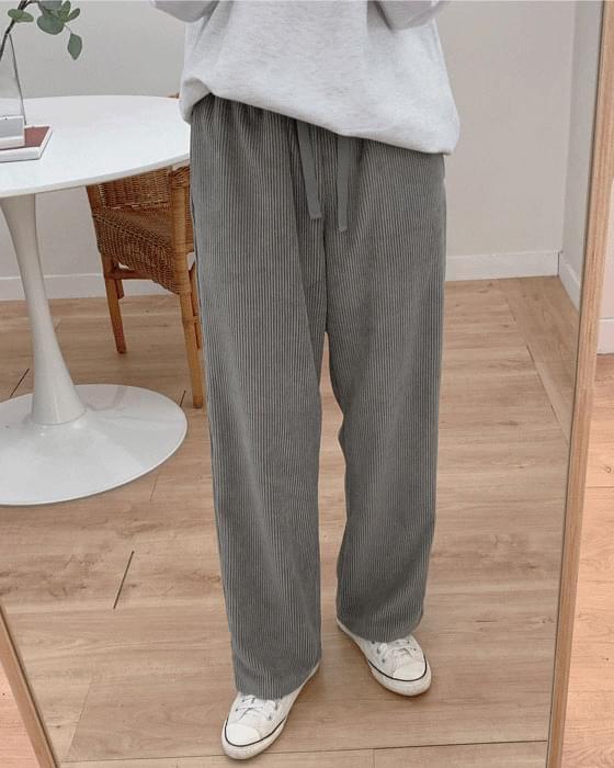 Wide corduroy banding pants-4color