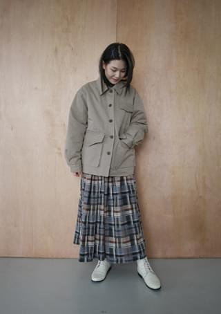turbid check banding skirt