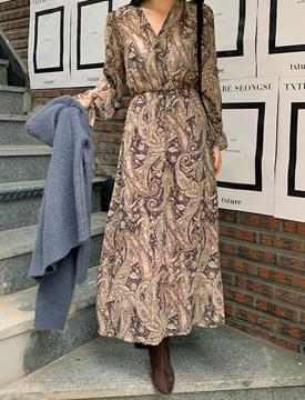 Ethnic Paisley Chiffon Long Dress