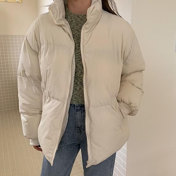 純色拉鏈羽絨外套