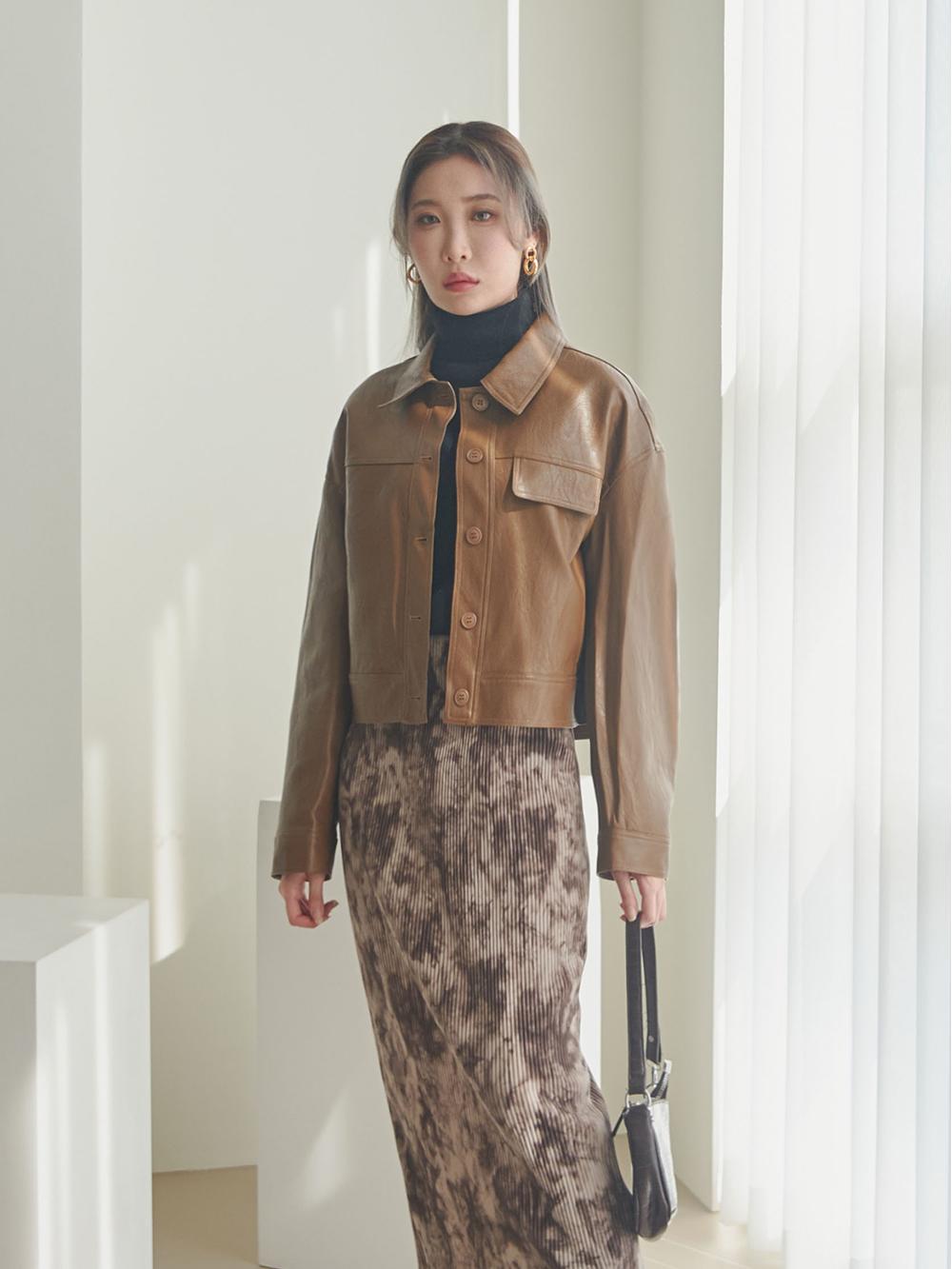Tie-dye pleated long skirt