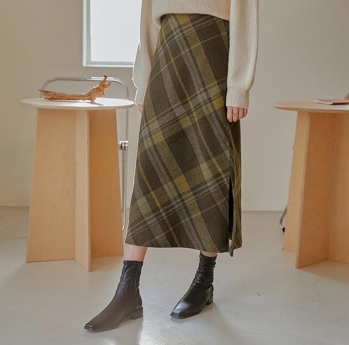 混羊毛側開衩格紋長裙