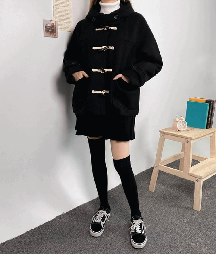 Hooded Toggle Front Short Coat