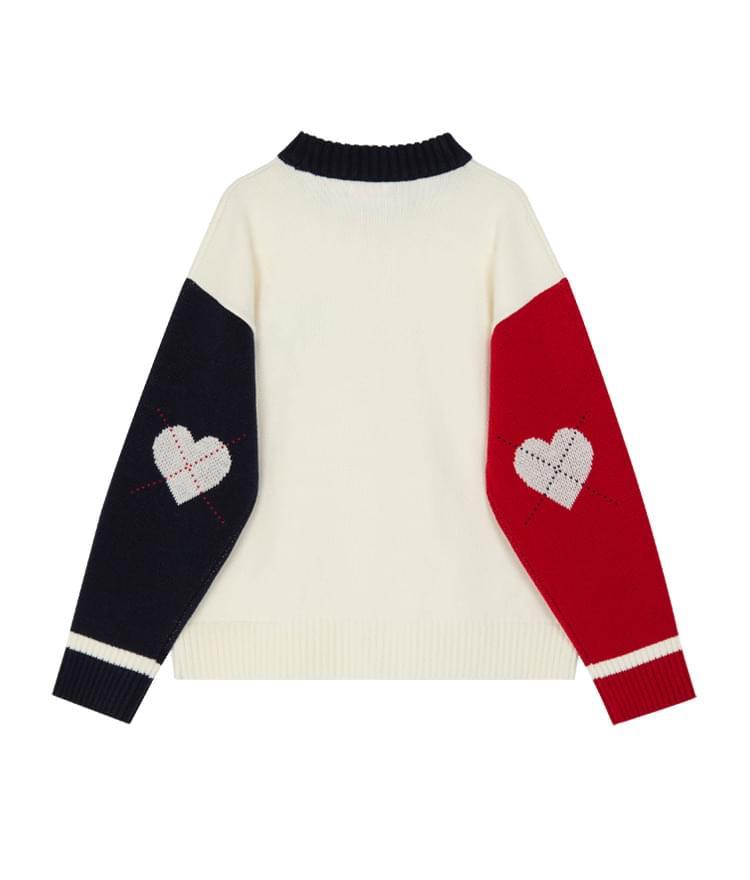Heart Argyle Sleeve Knit (Ivory)