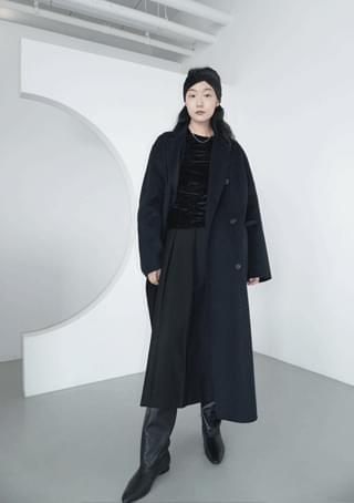 韓國空運 - wool combine maxi double coat 大衣