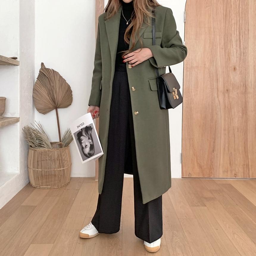 Mystic Khaki Single Long Coat 大衣外套