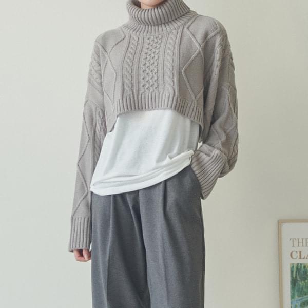 Twisted Turtleneck Crop Knitwear