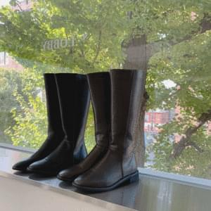 Square Leather Long Boots 3cm