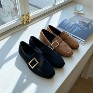 Wool-lined suede loafers 1cm