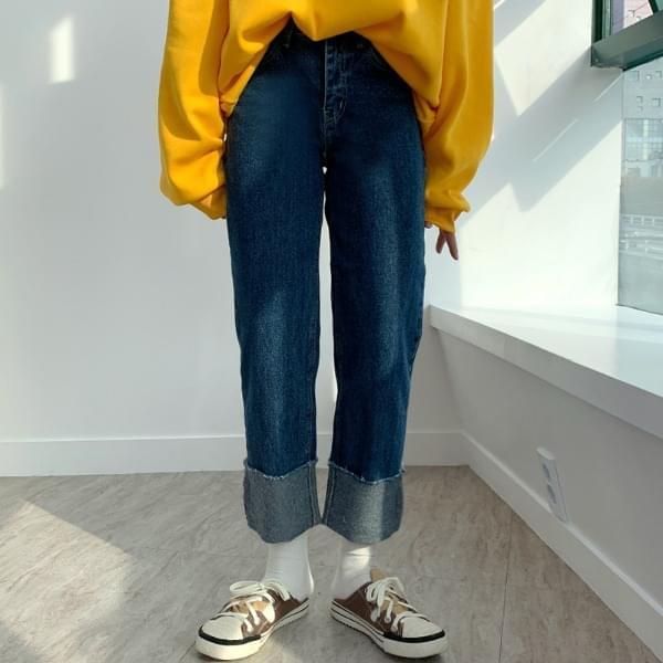 Roll-up denim straight-leg trousers