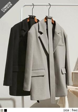 Belted Waist Wool Blend Boxy Jacket