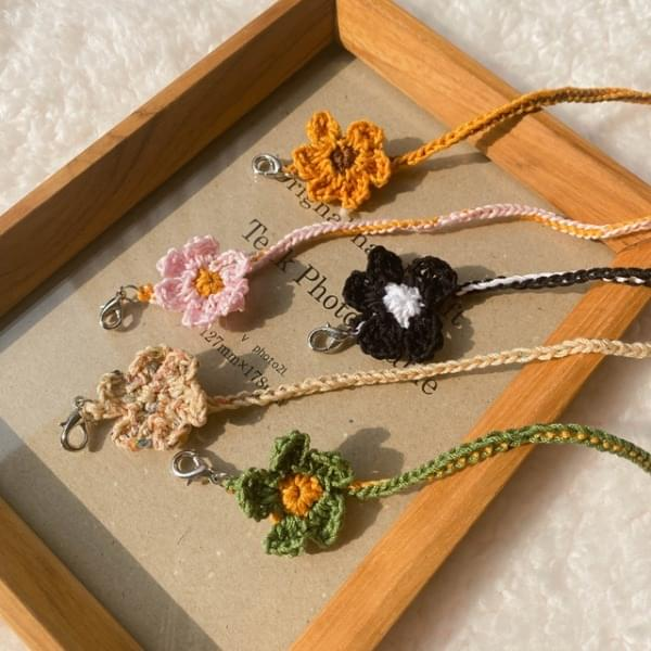 Knitted Flower Mask Strap Necklace
