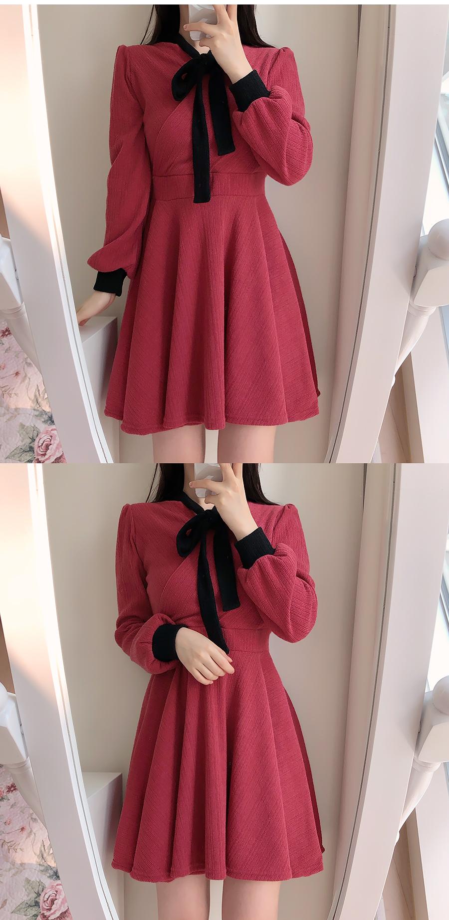 Dry Rose Color Knit Dress