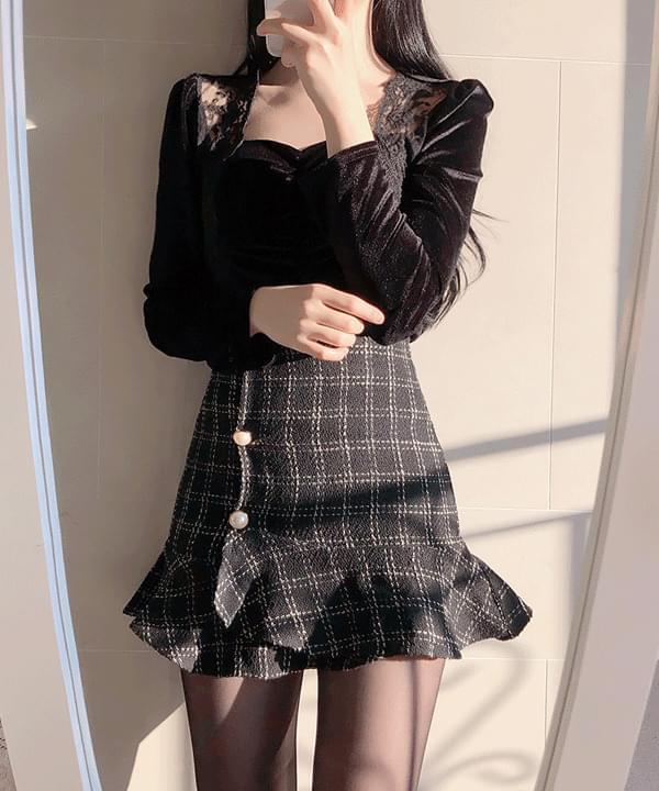 絨毛蕾絲邊長袖衫