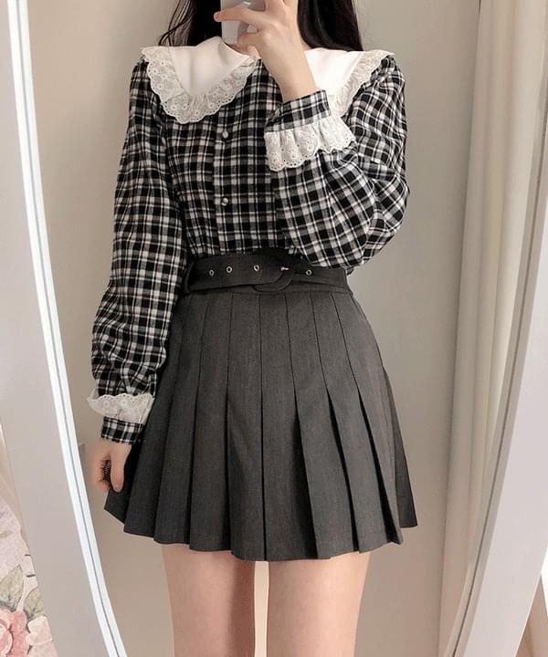 Straight pleated buckle skirt pants 裙子