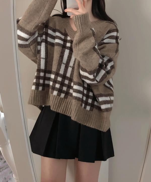 Mocha Square Check V-Neck Knit 針織衫