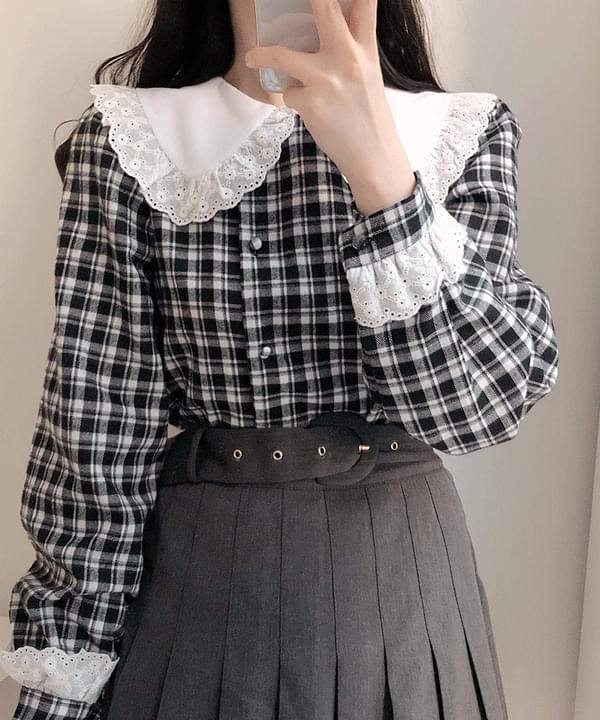 Autumn check lace collar blouse 襯衫