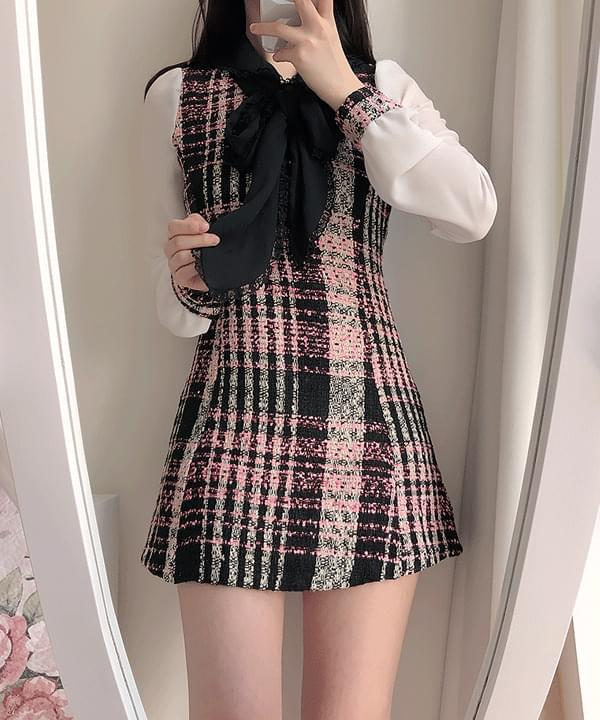 Dressy Tweed Color Matching One Piece 洋裝