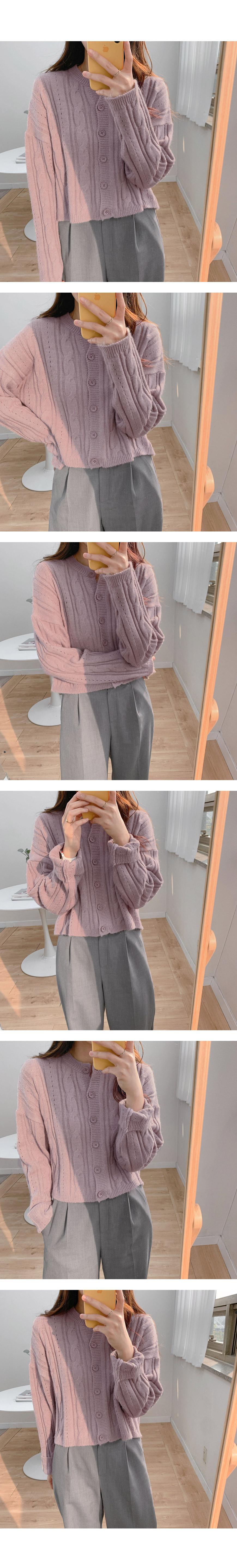 Pretzel crop knit cardigan-3color
