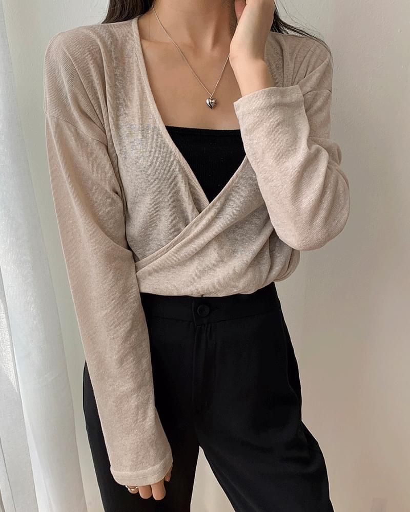 Loose Fit Linen Wrap T-shirt Thin Long Sleeve Tee
