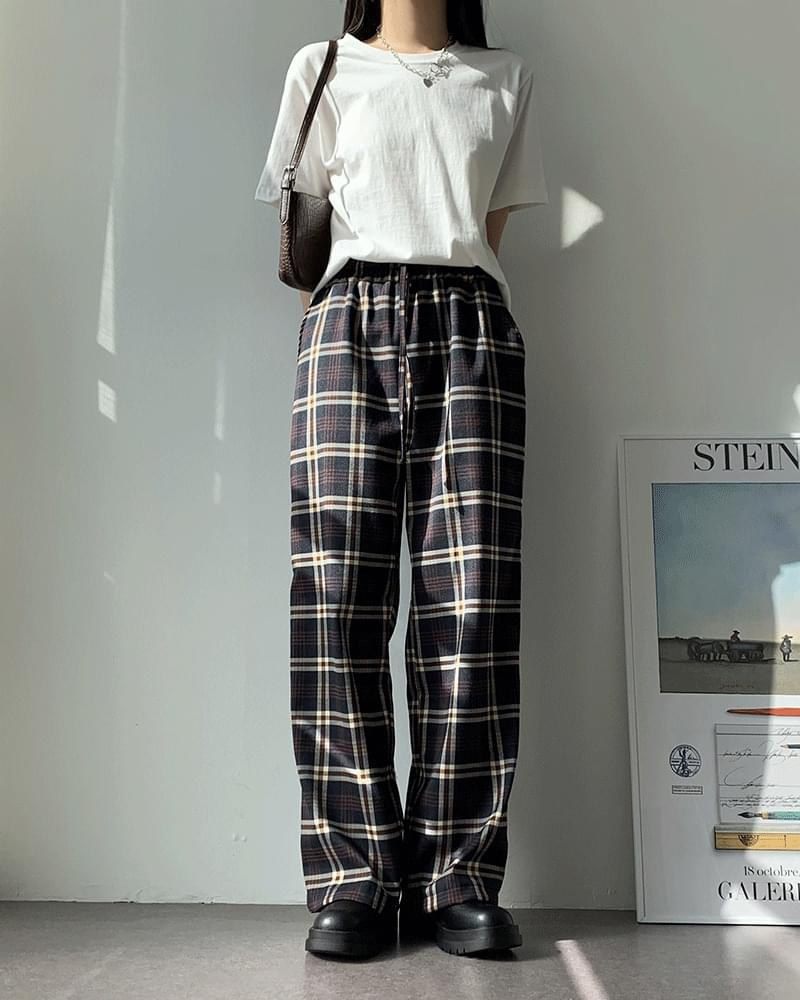 Andy wide banding check trousers