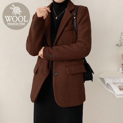混羊毛排釦中長版西裝外套