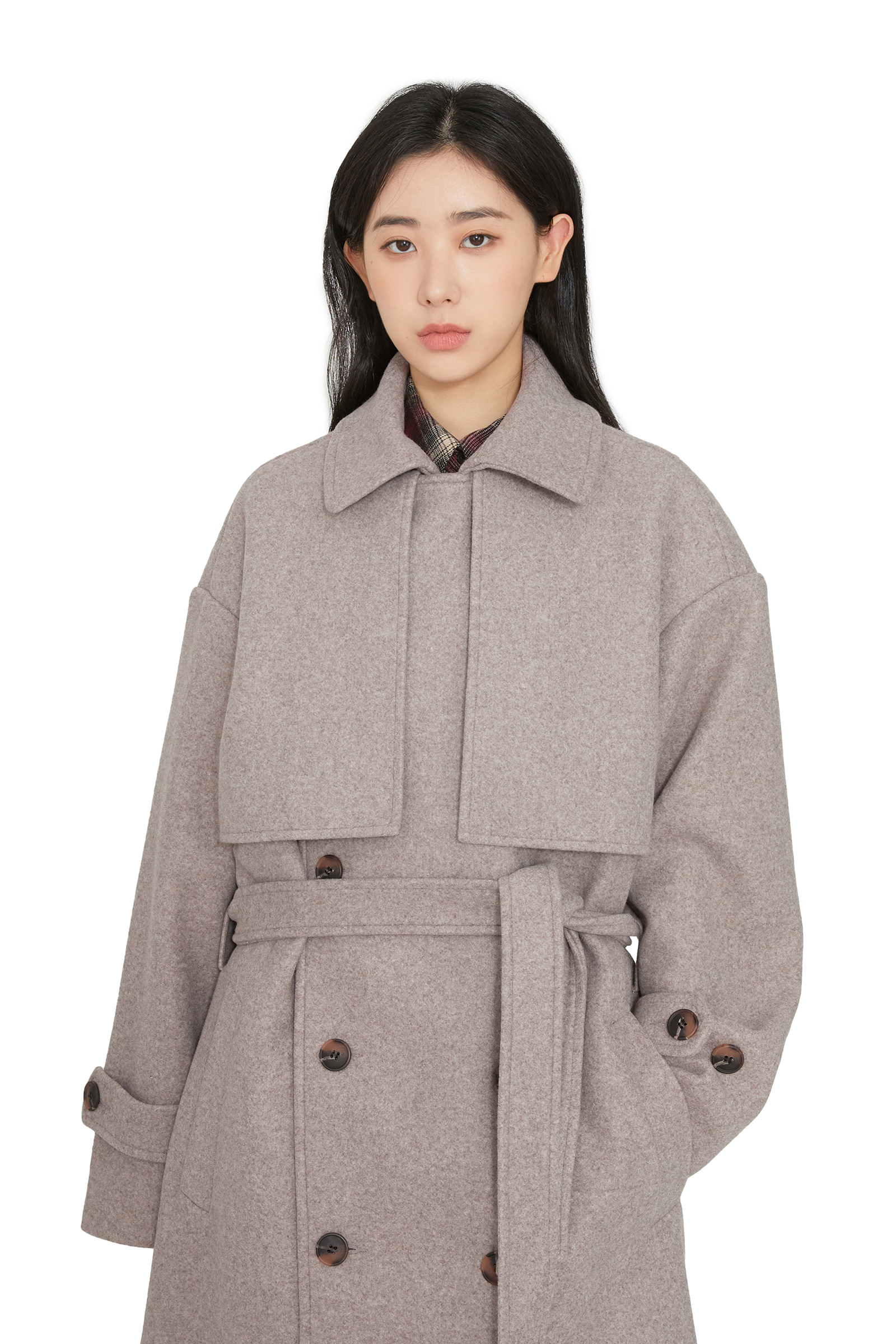 Unisex Wool Double Trench Long Coat