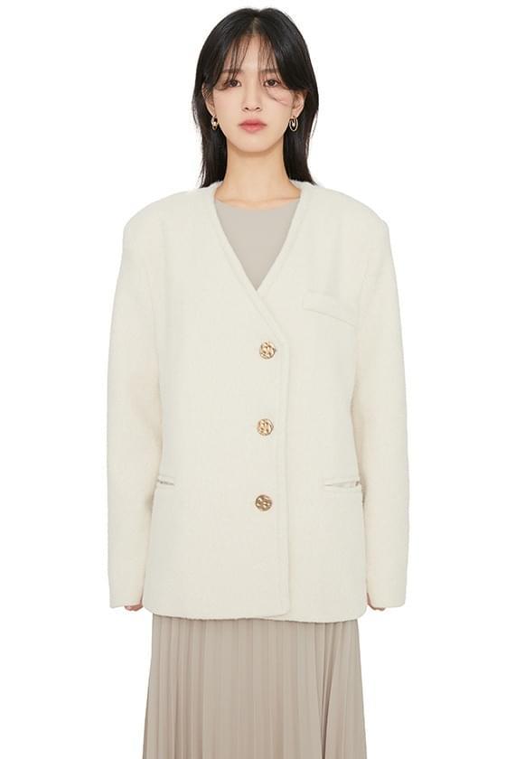 Puree collarless half coat