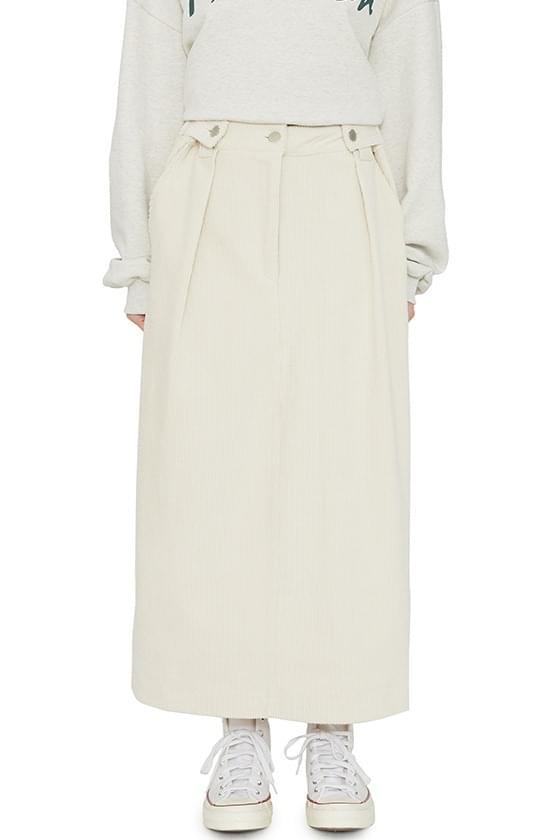 Marie button corduroy maxi skirt