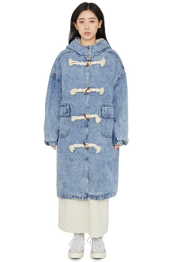 Fleecy denim duffle half coat