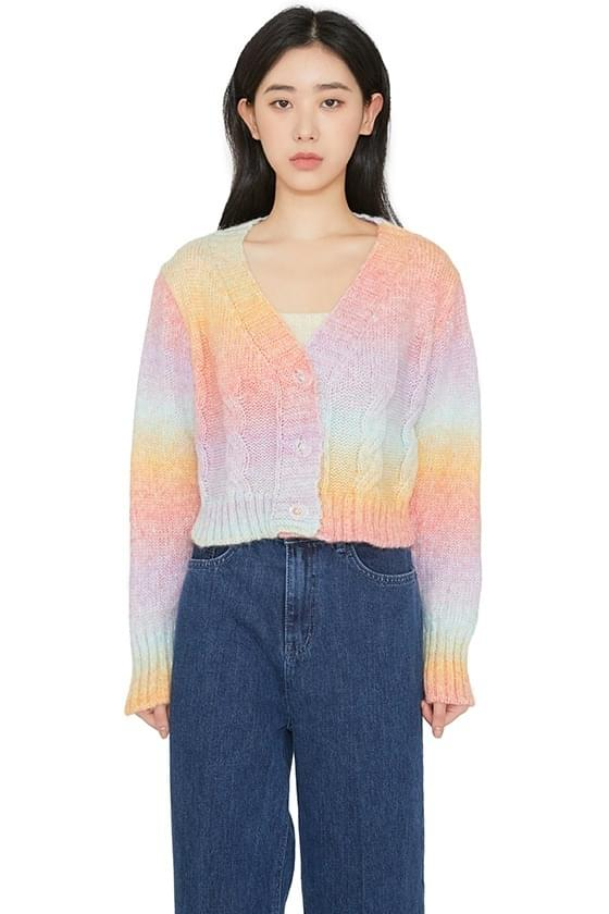 Rainbow twist-knit cardigan