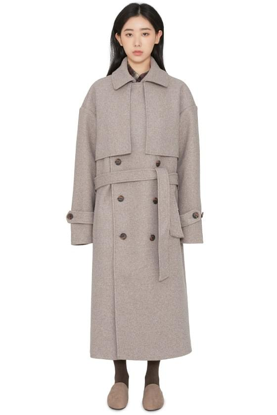 Unisex Wool Double Trench Long Coat
