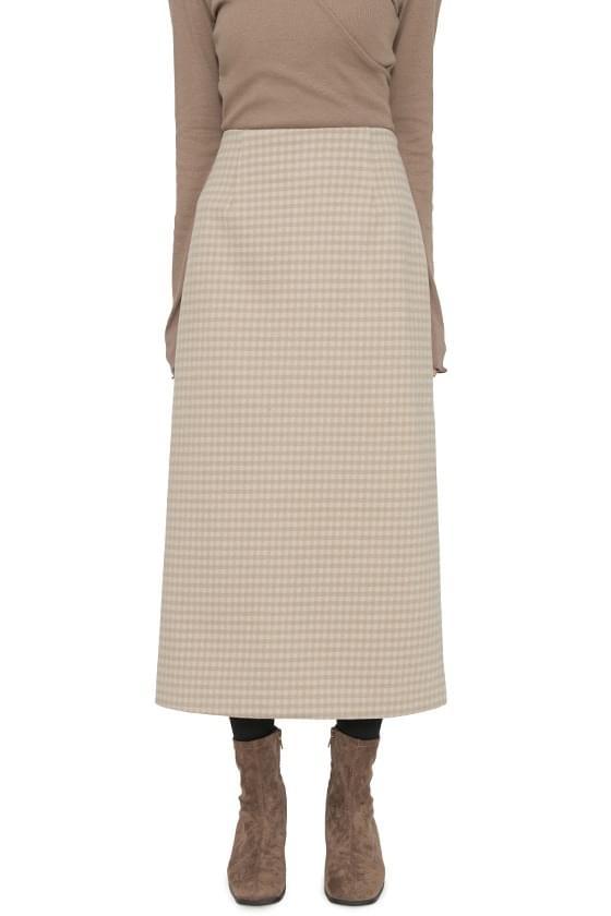 Marron check maxi skirt