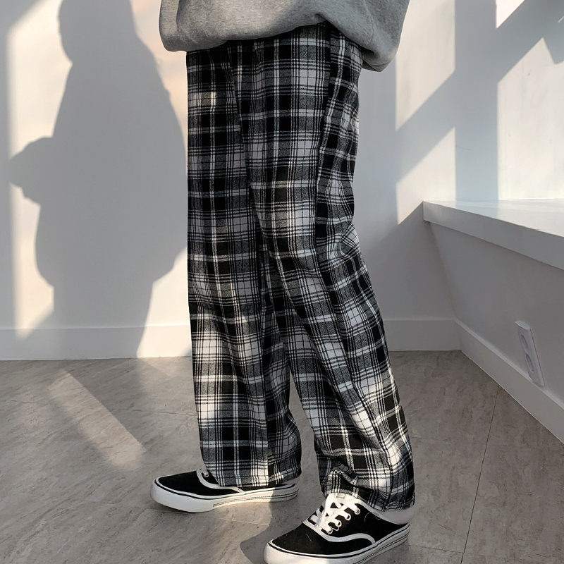 Checked wide pants
