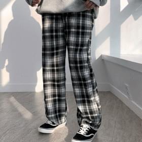 Checked wide pants 長褲