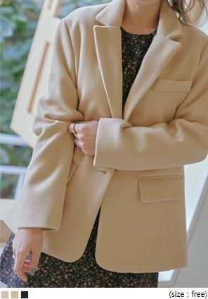 混羊毛後開衩西裝外套