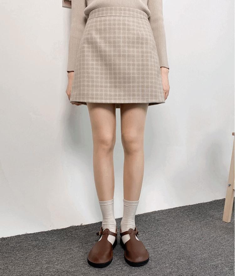Wool check mini skirt 裙子