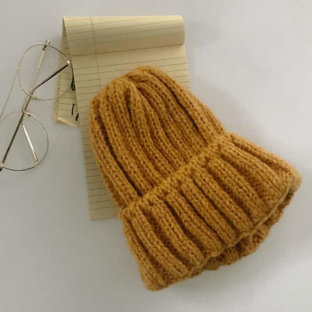 Double alpaca Ribbed beanie 帽子
