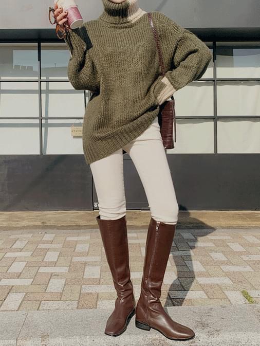 High Color Turtleneck Loose Fit Knit