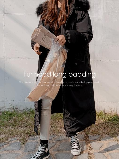 Ricky fade fur hooded long padded
