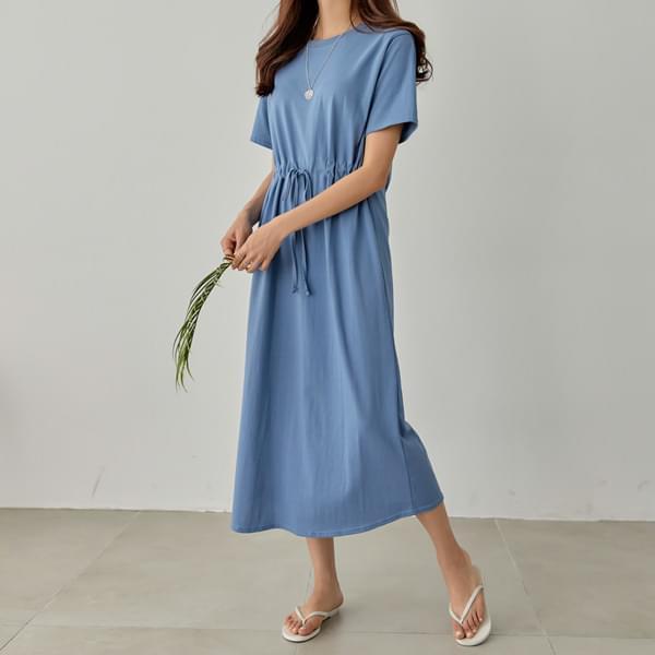 Waist string cotton long dress #37637