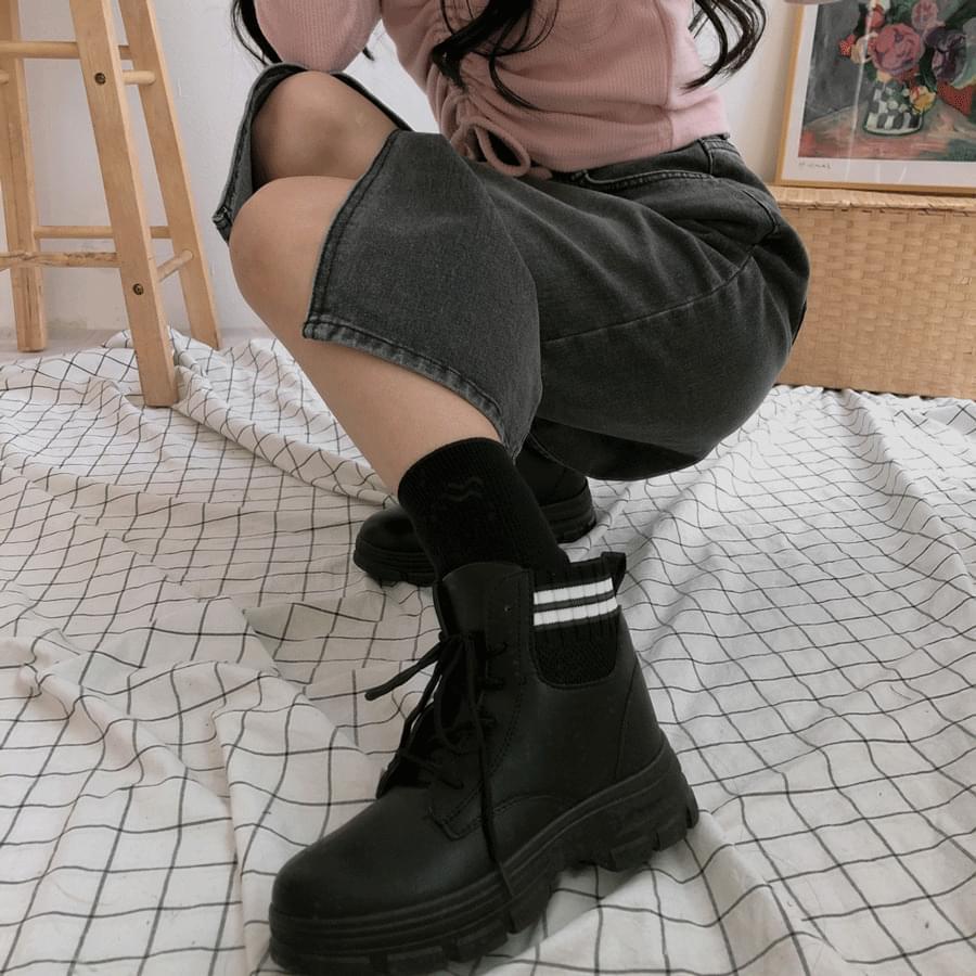 555-55 knit shibori walker 靴子