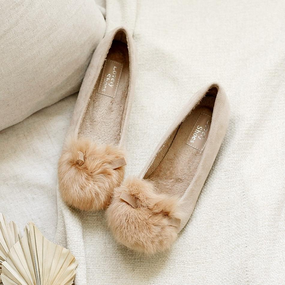 Bling Real Fur Tall Shoes Flat 4.5cm