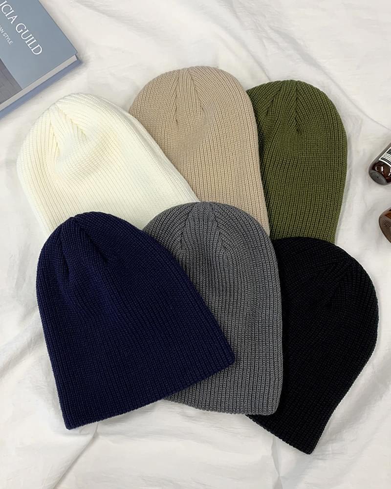 Biron Basic Plain Knit Short Beanie