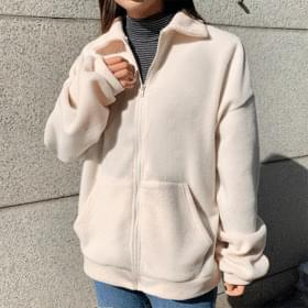 Lovely fleece collar zip-up zip-up