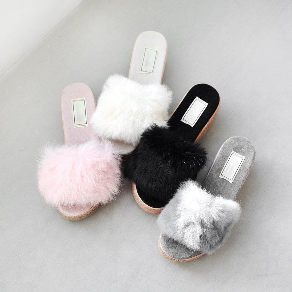 Repeat Real Fur Wedge Mule Slippers 6cm