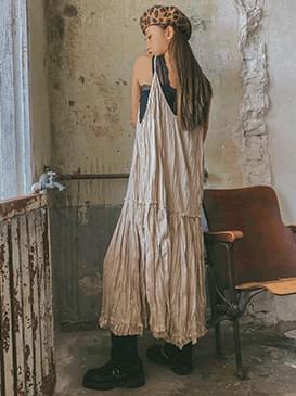 Suede Wrinkle Bustier Long Dress 洋裝
