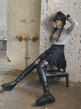 Corduroy cancan mini skirt 裙子